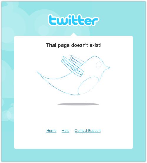 Twitter : Erreur 404