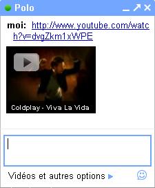 Gmail chat : Miniature pour les vidéos YouTube