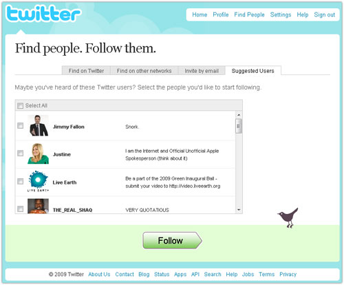 Twitter : Suggestions de followers