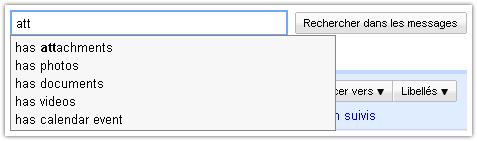 Gmail : Suggestions pour la recherche