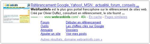Google : Sitelinks complets