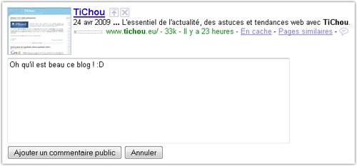 SearchWiki sur Google France
