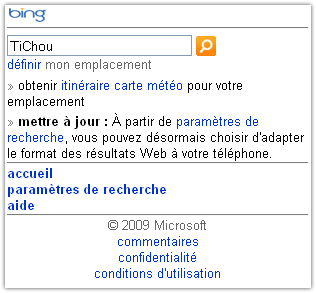 Bing : Version mobile
