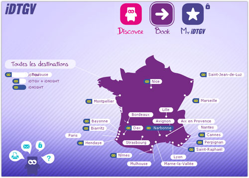 SNCF & iDTGV : Villes de France