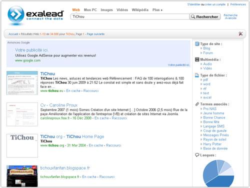 Exalead : Nouvelle interface