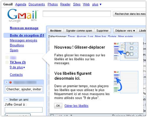 Gmail : Libellés