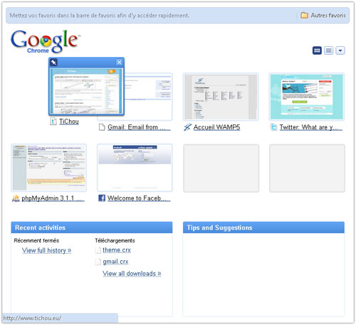 Google Chrome : New New Tab Page
