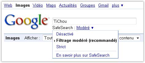 Google Images : Filtre SafeSearch