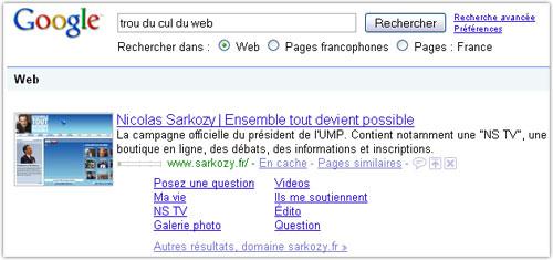 Google : Trou du cul du web & sarkozy.fr