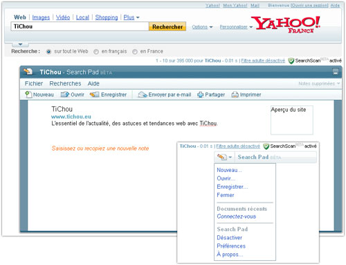 Yahoo : Search Pad