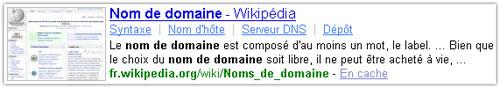 Snippet Yahoo : Wikipedia