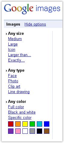 Google Images : Options de recherche