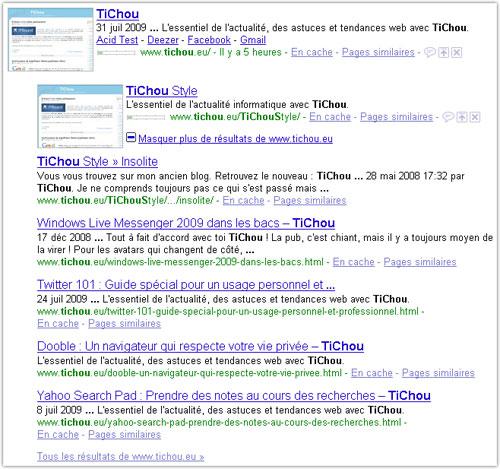 Google : Masquer plus de résultats