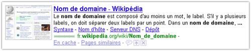Snippet Google : Wikipedia