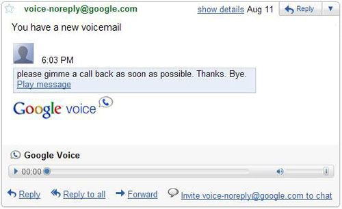 Gmail : Google Voice (voicemail)