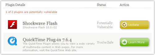 Firefox : Versions des plugins