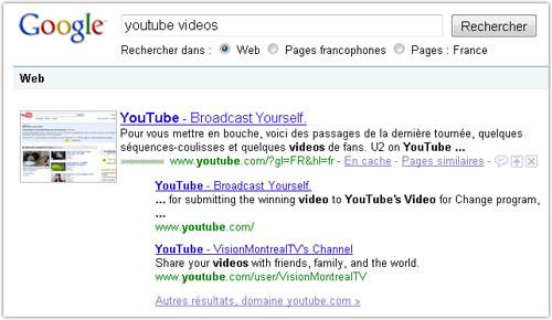 Google : 3 résultats par domaine