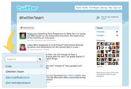 Twitter : Liste d'utilisateurs