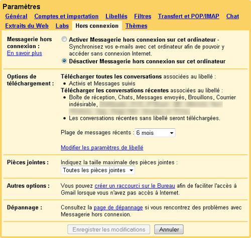 Gmail : Hors Connexion (plage)