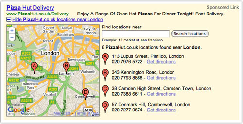 Google Ad : Adresses and location