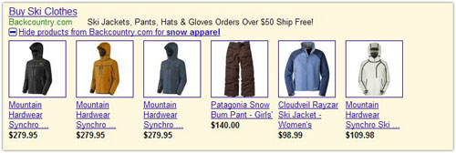 Google Ad : Images and prices