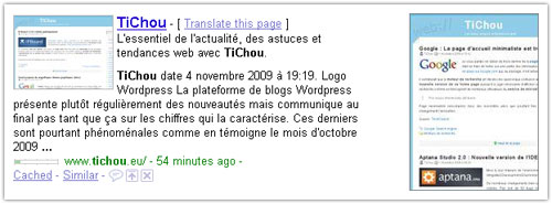 Google : Apercus des sites