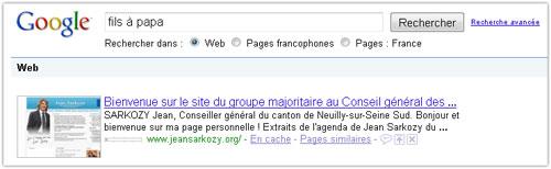 Google : Jeansarkozy.org, fils à papa