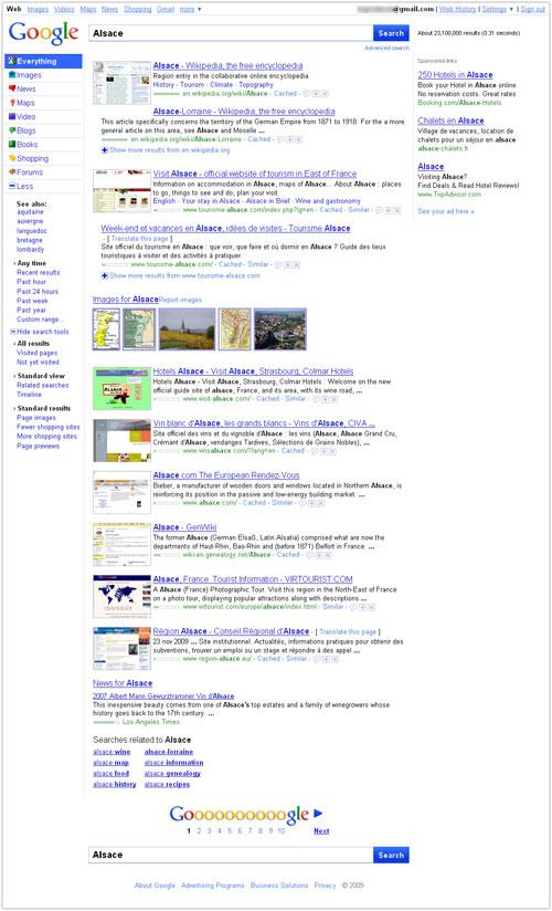 Google : Nouvelle interface - Page de résultats