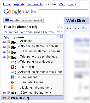 Google Reader : Favicon