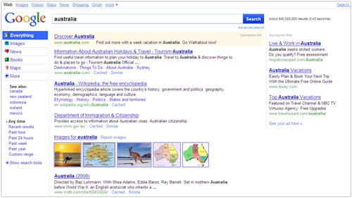 Google : Page de résultats (SERPS)