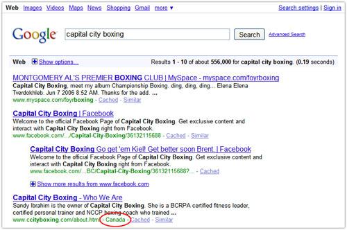 Google : Localisation géographique dans les page de résultats