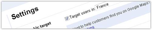 Google Webmaster Tools : Zone géographique