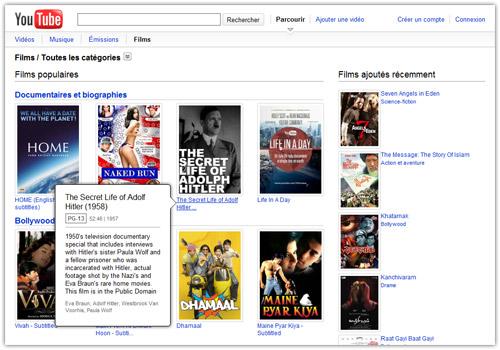 youtube movies films gratuits en streaming vod venir waebo actualit web. Black Bedroom Furniture Sets. Home Design Ideas