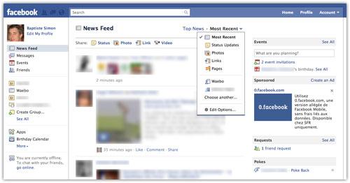 Facebook : Filtres du fil d'actualités