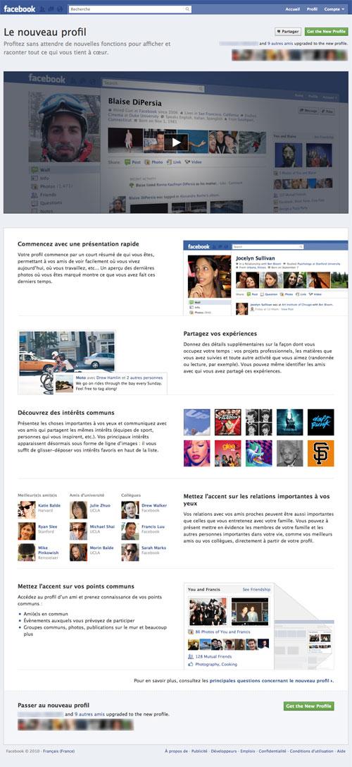 Facebook : Nouveau profil
