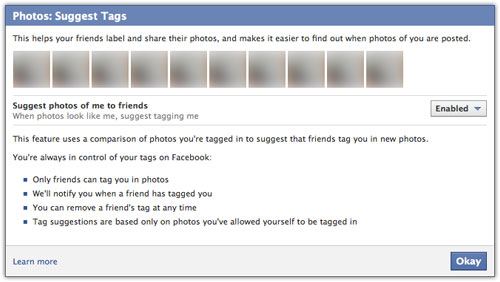 Facebook : Photos - Suggest tags