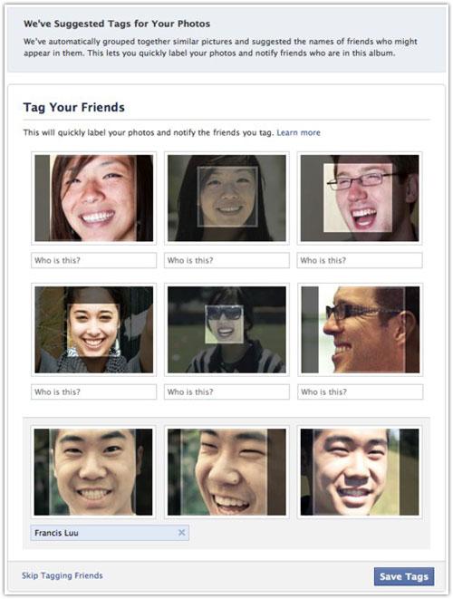 Facebook : Reconnaissance faciale lors du tag de photos