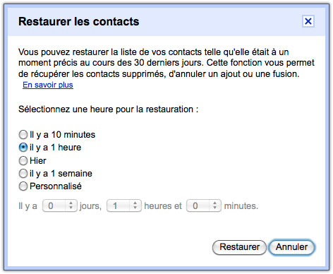 Gmail : Restaurer les contacts