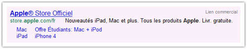 Google : Ancienne annonce
