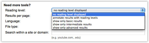 Google Advanced Search : Reading Level