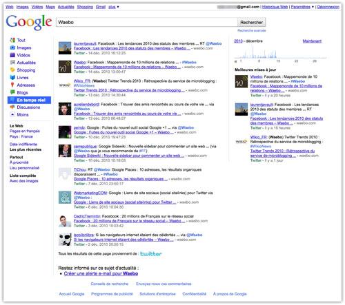 Google : Temps réel