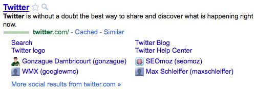 Google : Sitelinks sociaux pour Twitter