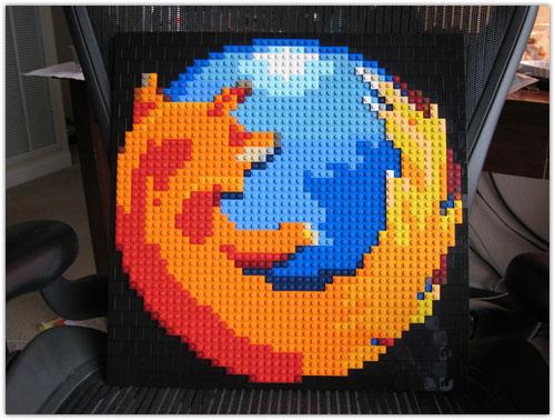 Logo Mozilla Firefox en Lego