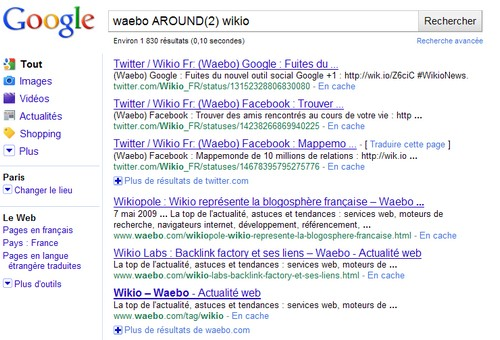 Le nouvel opérateur Google AROUND(n)