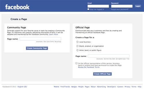 Facebook : Création de page communauté et officielle
