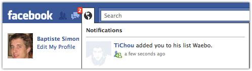 Facebook : Notification d'ajout dans une liste