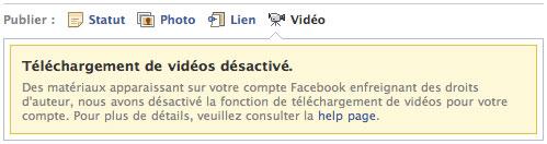 Facebook : Téléchargement de vidéos désactivé
