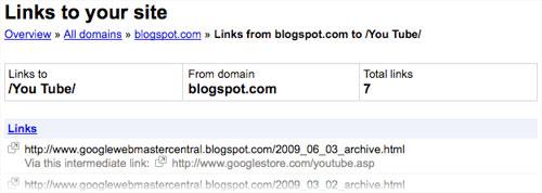 Google Webmaster Tools : Liens intermediaires