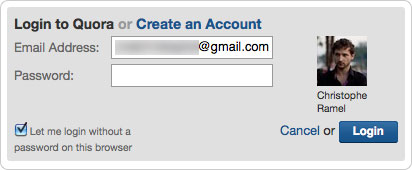 Quora : Identité via l'adresse email