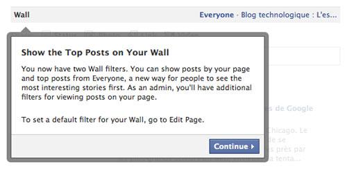 Facebook : Nouvelle page - Filtres du mur